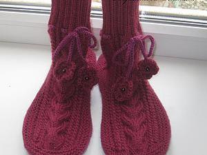Вяжем уютные носки на войлочной подошве. Ярмарка Мастеров - ручная работа, handmade.
