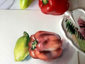 Рисуем перцы 4 цветами акварели. Ярмарка Мастеров - ручная работа, handmade.
