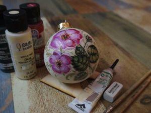 Видео мастер класс: роспись елочной игрушки «Цветы шиповника». Ярмарка Мастеров - ручная работа, handmade.