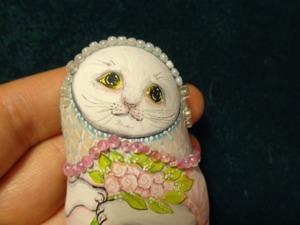 Роспись сувенирного магнита «Кошка-невеста». Ярмарка Мастеров - ручная работа, handmade.