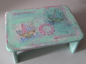 Декорирование детской деревянной скамеечки. Ярмарка Мастеров - ручная работа, handmade.