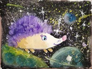 Рисуем Ёжика в Космосе. Ярмарка Мастеров - ручная работа, handmade.