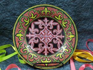 Точечная роспись стеклянной тарелки. Ярмарка Мастеров - ручная работа, handmade.