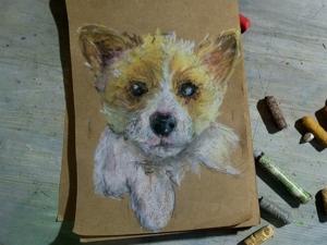 Рисуем щенка масляной пастелью. Ярмарка Мастеров - ручная работа, handmade.
