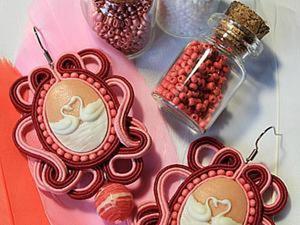 Мастер-класс: сутажные серьги «Розовый лебедь». Ярмарка Мастеров - ручная работа, handmade.