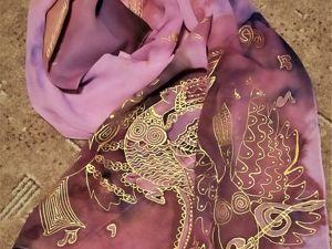 Расписываем шелковый шарф  «Поющая Сирин». Ярмарка Мастеров - ручная работа, handmade.
