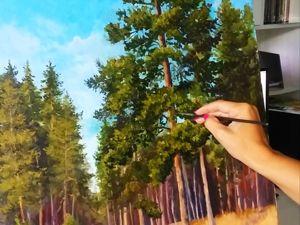 Рисуем маслом «Сосновый лес». Ярмарка Мастеров - ручная работа, handmade.