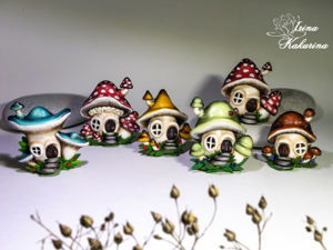 Броши грибочки-домики. Ярмарка Мастеров - ручная работа, handmade.
