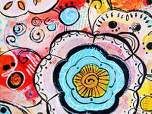Рисуем красками яркий декоративный элемент в технике дудлинг. Ярмарка Мастеров - ручная работа, handmade.