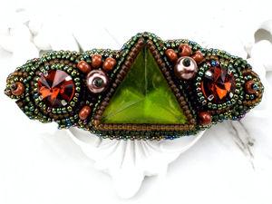 Заколка для волос из бисера с кристаллами. Ярмарка Мастеров - ручная работа, handmade.