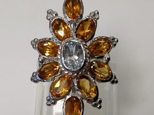 Серебряное кольцо с натуральным аквамарином и цитринами  «Андромеда». Ярмарка Мастеров - ручная работа, handmade.