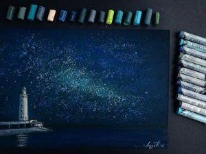 Рисуем ночной маяк пастелью: видеоурок. Ярмарка Мастеров - ручная работа, handmade.