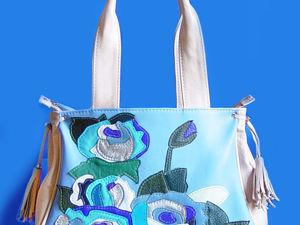 Знакомство с моими работами. Кожаная сумка  « Blue roses». Ярмарка Мастеров - ручная работа, handmade.