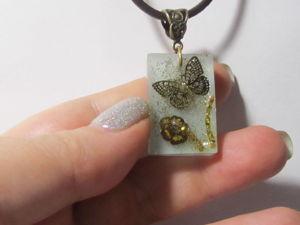 Новая работа Кулон с люминофором Золотая бабочка. Ярмарка Мастеров - ручная работа, handmade.