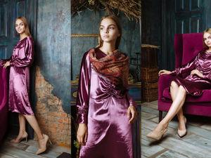 Бархатное шелковое платье. Ярмарка Мастеров - ручная работа, handmade.