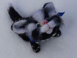 Мастер-класс по валянию милого черно-белого котенка. Ярмарка Мастеров - ручная работа, handmade.