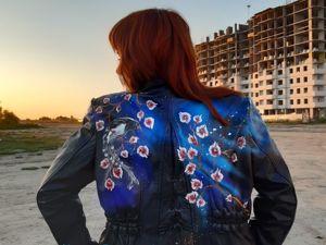 Кожаная куртка с росписью всего за 4500!. Ярмарка Мастеров - ручная работа, handmade.