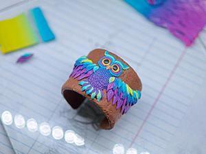 Декорируем браслет очаровательной совой из полимерной глины. Ярмарка Мастеров - ручная работа, handmade.