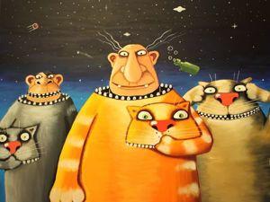 Коты художника васи Ложкина покоряют космос. Ярмарка Мастеров - ручная работа, handmade.