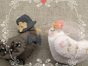 Композиция из фетра «Птицы в гнезде» — украшение для свадебного торта. Ярмарка Мастеров - ручная работа, handmade.
