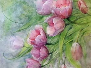 Video DIY Project: Painting Tulips with Watercolour. Livemaster - handmade