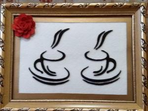 Картина из фетра  «Кофе тайм». Ярмарка Мастеров - ручная работа, handmade.