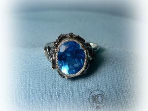 Перстень  «Раковины и Морская звезда» , топаз Swiss Blue. Ярмарка Мастеров - ручная работа, handmade.