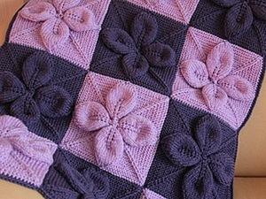 """Вязаный плед """"Объёмные цветы"""". Ярмарка Мастеров - ручная работа, handmade."""