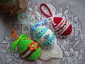Пасхальные яички-подвески крючком за 1 час. Ярмарка Мастеров - ручная работа, handmade.