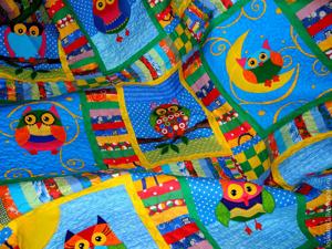 Детское лоскутное одеяло покрывало  «Совушки»  — детская комната в стиле пэчворк!!. Ярмарка Мастеров - ручная работа, handmade.