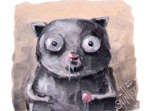 День 317. Миниатюра маслом  «Зомби-кот» . 18-я работа из серии 50 дней масла. Ярмарка Мастеров - ручная работа, handmade.