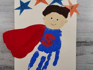 Как нарисовать ладошками супермена? Пальчиковый метод. Ярмарка Мастеров - ручная работа, handmade.