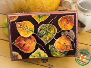 Brushing & Painting Of Natural Wood Tea Box ''Autumn Blanket''. Livemaster - handmade