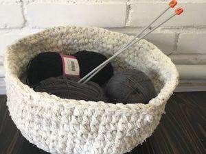 Интерьерная корзинка из старой тюли. Ярмарка Мастеров - ручная работа, handmade.
