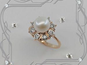 Кольцо «Морская жемчужина» золото 585, бриллианты, жемчуг. Ярмарка Мастеров - ручная работа, handmade.