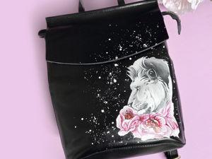 Видео рюкзака с ручной росписью Лев с пионами. Ярмарка Мастеров - ручная работа, handmade.