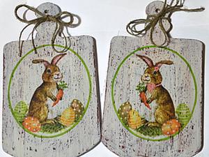 """Разделочные доски в стиле шебби-шик """"Пасхальные зайчики"""". Ярмарка Мастеров - ручная работа, handmade."""
