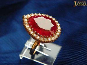 Рубин.  «Всплеск»  кольцо с природным рубином в позолоте. Ярмарка Мастеров - ручная работа, handmade.