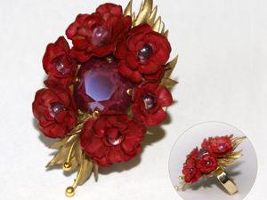 Кольцо «Пионы»: роскошь в духе барокко за 1 день. Полимерная глина и кристалл Swarovski. Ярмарка Мастеров - ручная работа, handmade.