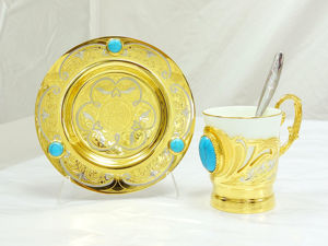 Фарфоровая кофейная пара  «Бирюза» . Златоуст z448. Ярмарка Мастеров - ручная работа, handmade.