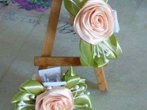 Делаем заколку с розами «краб» в технике канзаши. Ярмарка Мастеров - ручная работа, handmade.