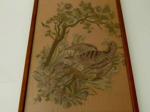 Tambour Embroidery Panel from 19th Century in Frame from France. Livemaster - handmade
