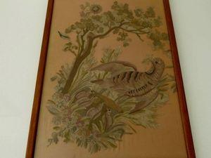 Панно с тамбурной вышивкой 19 века в раме из Франции. Ярмарка Мастеров - ручная работа, handmade.