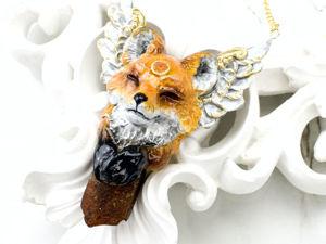 Кулон ручной работы с камнем янтарь и сердолик, Лиса. Ярмарка Мастеров - ручная работа, handmade.