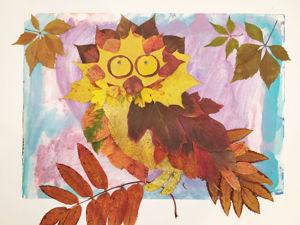 Осенние поделки. Часть 2: аппликации из листьев!. Ярмарка Мастеров - ручная работа, handmade.