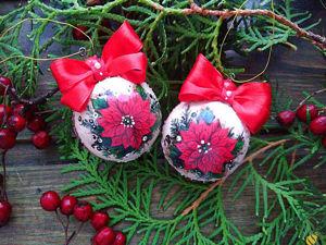 Декорируем елочный шар «Рождественская звезда». Ярмарка Мастеров - ручная работа, handmade.