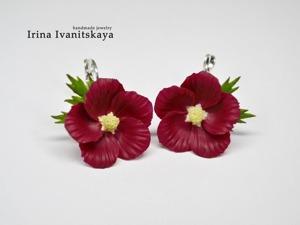 Серьги с цветами мальвы в цвете марсала. Ярмарка Мастеров - ручная работа, handmade.
