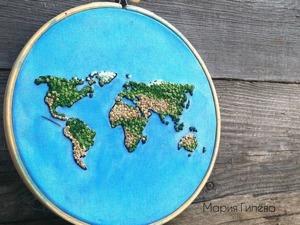 Планета Земля — вышивка в технике французский узелок. Ярмарка Мастеров - ручная работа, handmade.