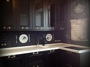 """Роспись скинали кухни """"Черно-белая графика"""". Ярмарка Мастеров - ручная работа, handmade."""