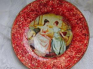 Декор тарелки в технике обратный декупаж,кракелюр,золочение. Ярмарка Мастеров - ручная работа, handmade.